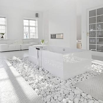 Modern White Bathroom. River Rock Inset Backyard Floor Design Ideas