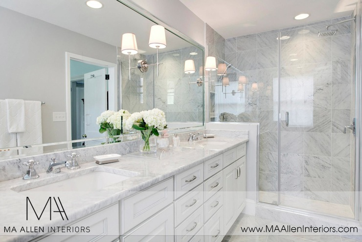 Contemporary Bathroom Countertops white cabinets with white marble countertops - contemporary