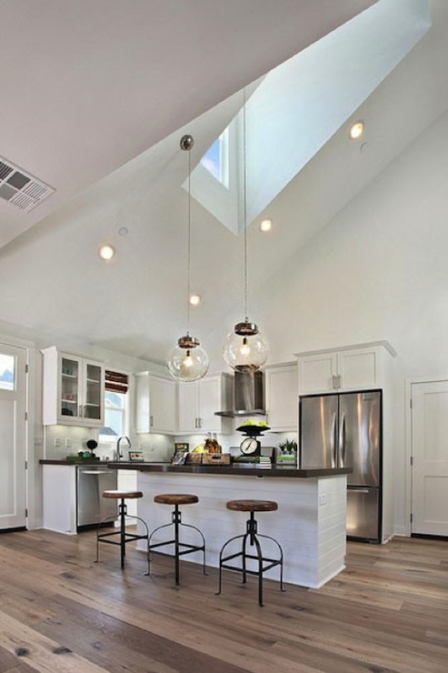 Kitchen Skylight Cottage Kitchen Matt White Custom Homes