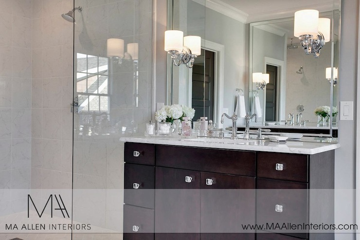 Espresso Bathroom Vanity Contemporary Bathroom MA Allen Interiors - Sconces mounted on bathroom mirror