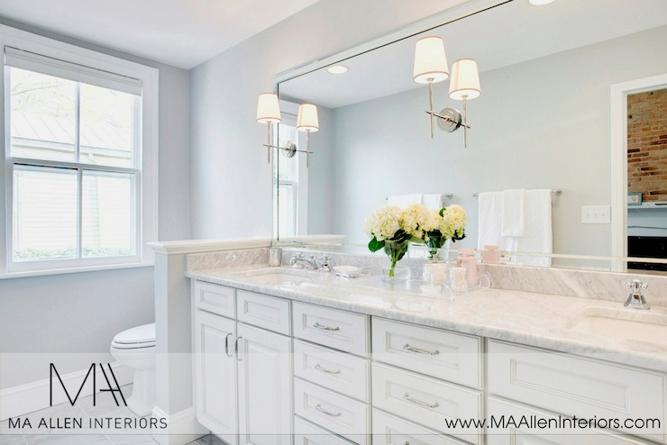 Contemporary Bathroom Countertops white bathroom cabinets with marble countertops - contemporary