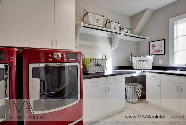 Red And Gray Laundry Room Contemporary Laundry Room