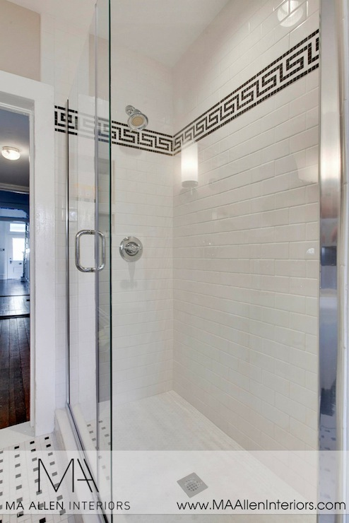 Greek Key Tile Trim - Contemporary - bathroom - MA Allen Interiors