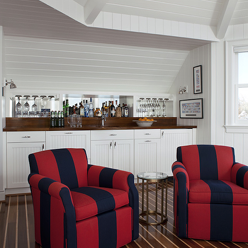 Striped Club Chairs, Cottage, living room, Marianne Jones