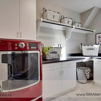 Red and Gray laundry Room, Contemporary, laundry room, MA Allen Interiors