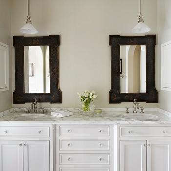 White Double Vanity with Marble Countertops, Cottage, bathroom, Molly Quinn Design