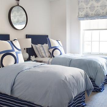 Twin Blue Headboard, Cottage, boy's room, Philip House NYC