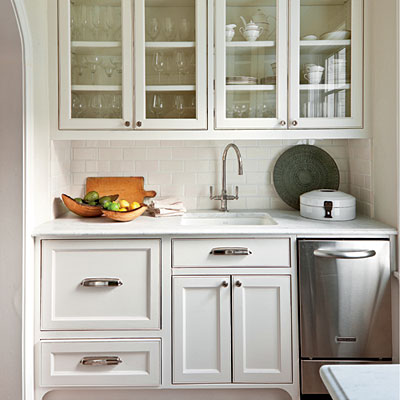 Urban Grace Interiors   Lovely Butleru0027s Pantry With Glass Front Upper  Cabinets And Cream Lower Cabinets Paired With Marble Countertops And Subway  Tile ...