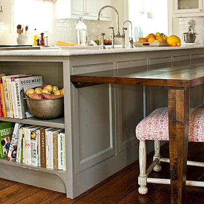Gray kitchen island cottage kitchen southern living