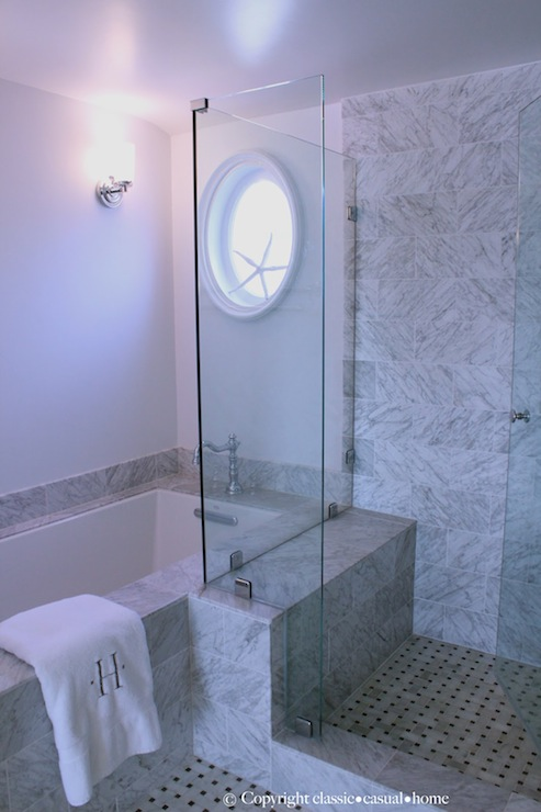 Marble Basketweave Shower Floor, Traditional, bathroom, Classic Casual Home