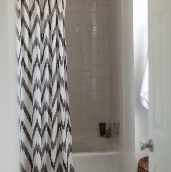 gray chevron shower curtain threshold grey chevron shower curtain