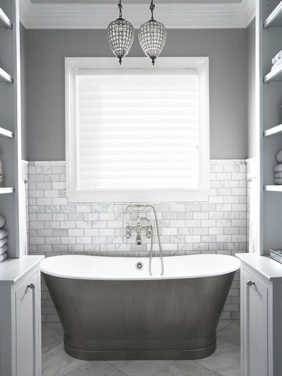 Bathroom Design Grey And White Beautiful Gray Bathroom With Gray Wall Color And Marble Tiled Half