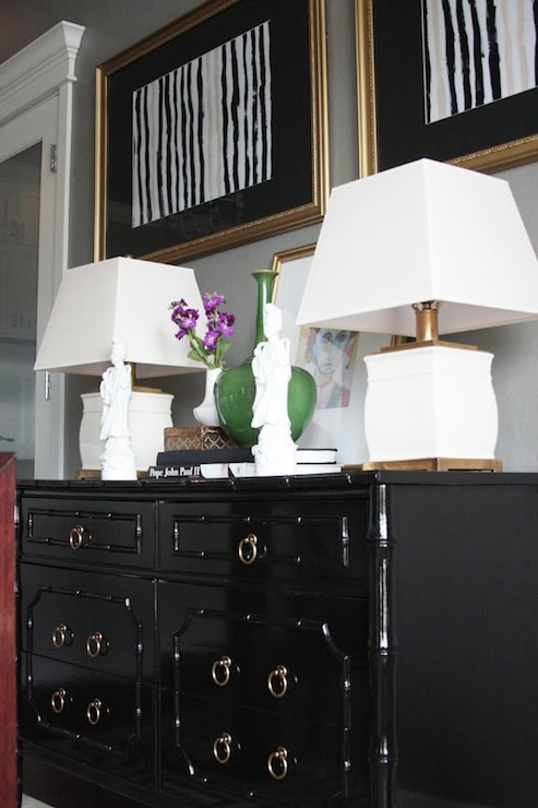 Black Bamboo Dresser Eclectic Dining Room Sherwin Williams Mindful Gray