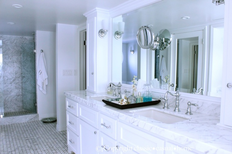 White Marble Countertops With White Cabinets