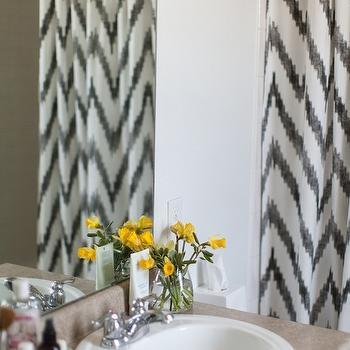 grey and white chevron shower curtain. Chevron Shower Curtain Kassatex Grey and White