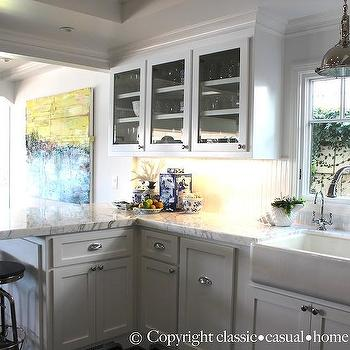 Marble Kitchen Peninsula, Cottage, kitchen, Classic Casual Home