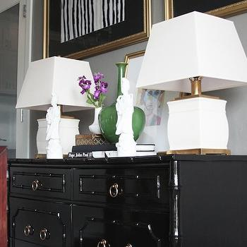 Black Bamboo Dresser, Eclectic, dining room, Sherwin Williams Mindful Gray, Little Green Notebook