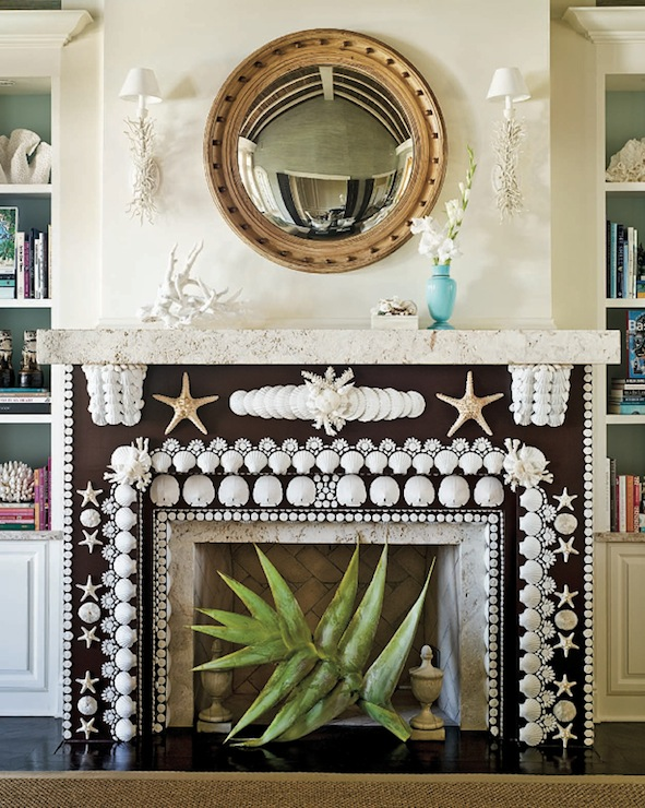 Dana Small - Incredible custom seashell encrusted fireplace mantel.