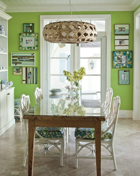 Green dining room cottage dining room coastal living for Light green dining room