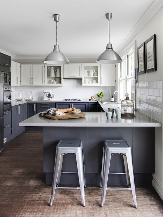 white and gray kitchen with two tone cabinets White upper cabinets