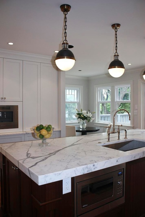 Thomas O Brien Hicks Pendants Transitional Kitchen