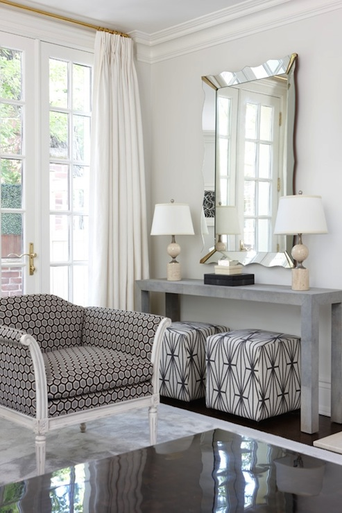 Gray Parsons Table Contemporary Living Room Anne