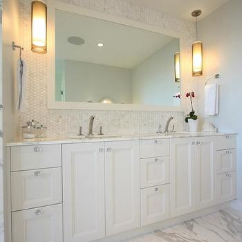 White Double Vanity, Contemporary, bathroom, Sarah Gallop Design