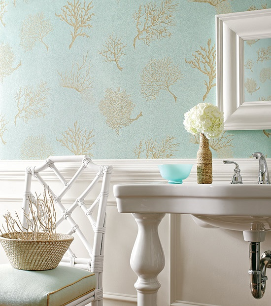 Turquoise And Gold Wallpaper Traditional Bathroom