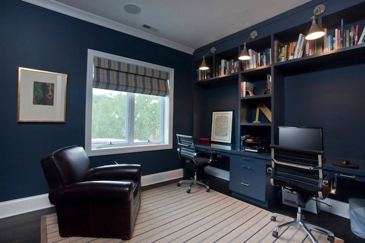Traditional Den Library Office Benjamin Moore Hale Navy