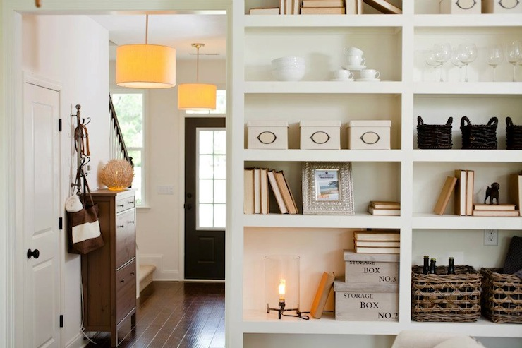 Beautiful Foyer Design With Long Corridor Dotted With Drum Pendants And  Slim Console Table Leading To Front Door.