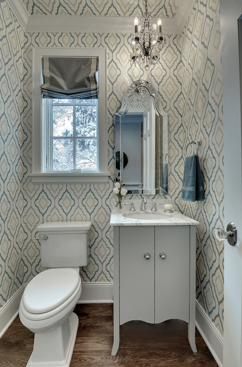 Quatrefoil wallpaper contemporary bathroom great - Powder room wallpaper ideas ...