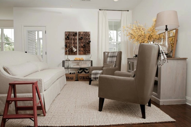Gray Leather Wingback Chairs - Cottage - living room - Sabal Homes SC