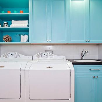 Turquoise Blue Cabinets, Contemporary, laundry room, Melissa Lenox