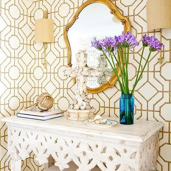 Cowtan and Tout Bamboo Wallpaper, Eclectic, entrance/foyer, Marjorie Johnston and Co.