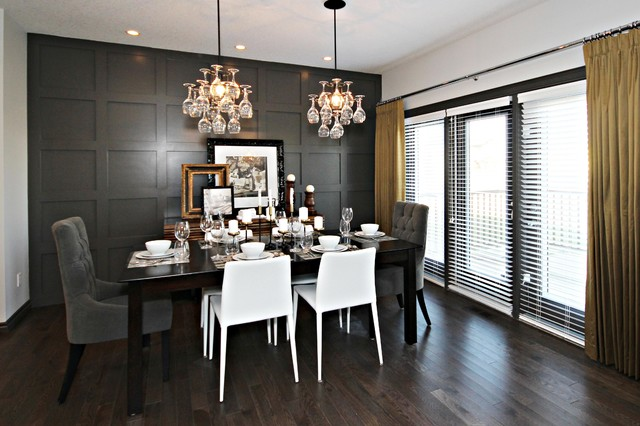 Dark gray wainscoting design ideas for Dining room grey walls