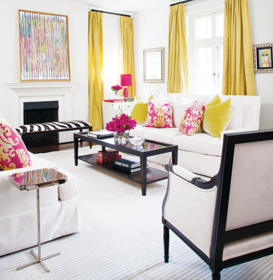 Yellow Curtains Contemporary Living Room Style At Home