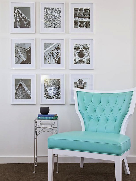 Stunning reading nook featuring turquoise leather tufted chair paired with  tall metal accent table and collection of sepia prints in white gallery  frames. - Turquoise Accent Chair Design Ideas