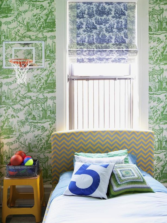 Toile Wallpaper in Green and Pink for an Accent Wall Little