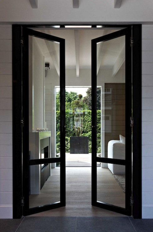 Black glass doors contemporary living room mi casa for Living room 4 doors