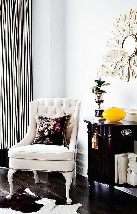 Black And White Striped Curtains Transitional Living