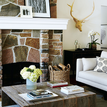 Rustic Stone Fireplace, Country, living room, Style at Home
