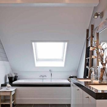 Sloped Bathroom Ceiling, Transitional, bathroom, Mi Casa