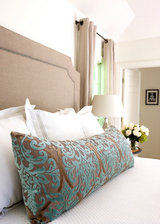 Teal and Brown Damask Pillow - Traditional - bedroom ...