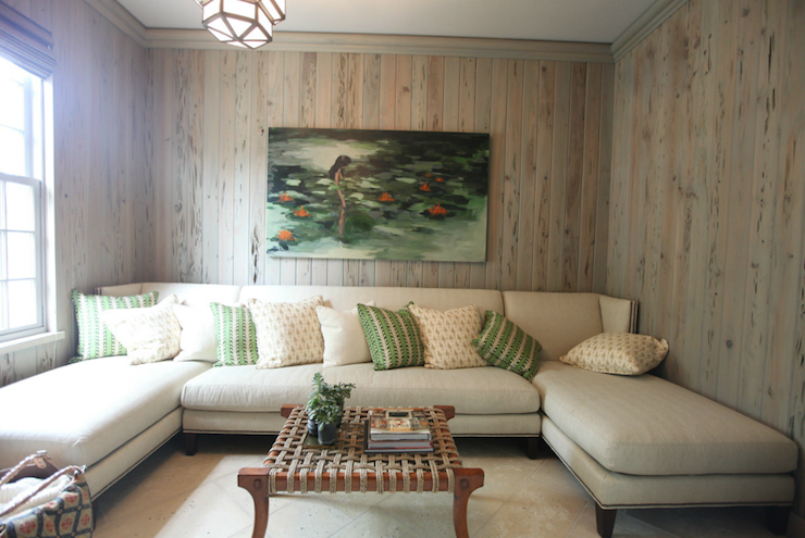 Wood Paneled Family Room Cottage Living Room Urban