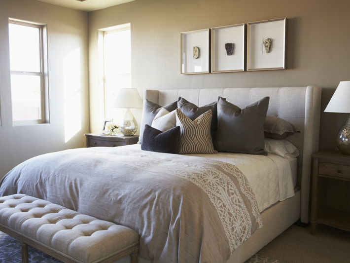 Tufted Wingback Bed Transitional Bedroom Benjamin Moore Sandy Hook Gray Alice Lane Home