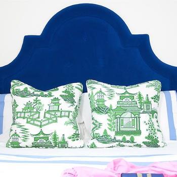Blue Velvet Headboard, Eclectic, bedroom, Shelter Interior Design