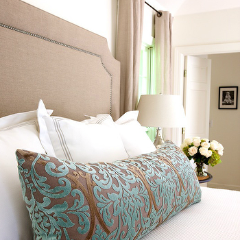 Teal and Brown Damask Pillow, Traditional, bedroom, Marianne Strong Interiors