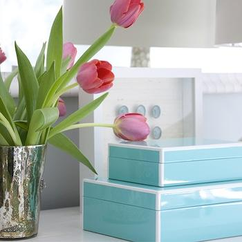 Turquoise Lacquer Boxes, Traditional, living room, Shelter Interior Design