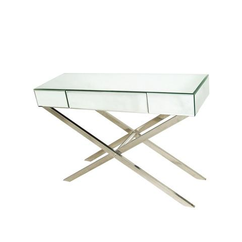 Cross Leg Mirrored Console Side Table