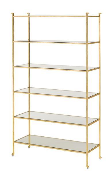 Lamar 7 Shelf Etagere Gold Leaf With Glass Shelves